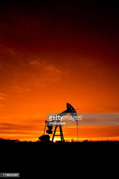 Oil Industry Derrick at Dusk