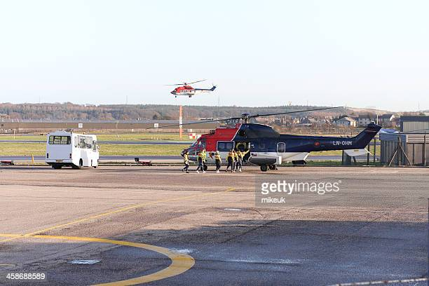 oil industry helicopters at Aberdeen airport