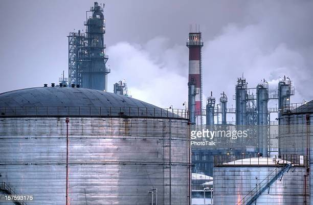 oil industry night scene - large - acid rain stock photos and pictures
