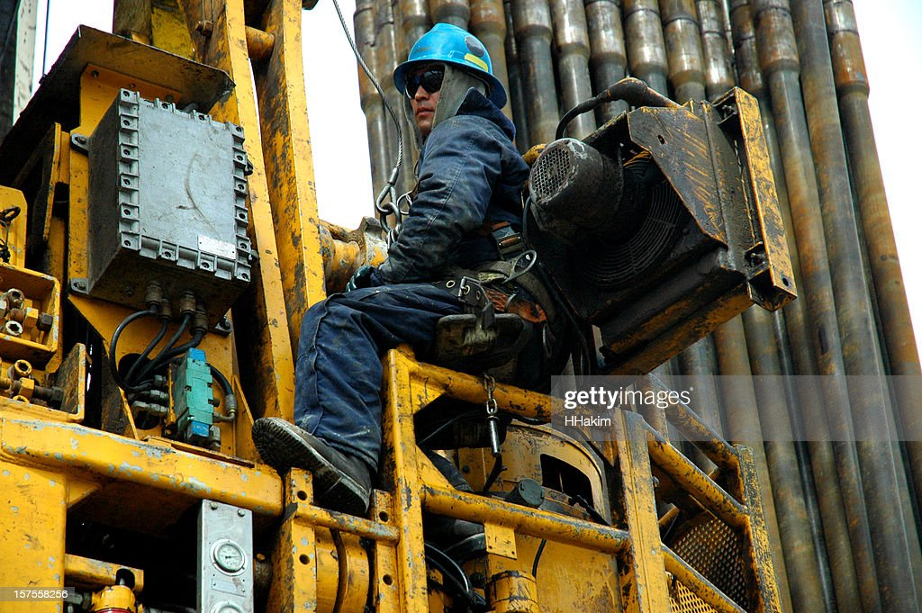 Oil industry - top drive service : Stock Photo