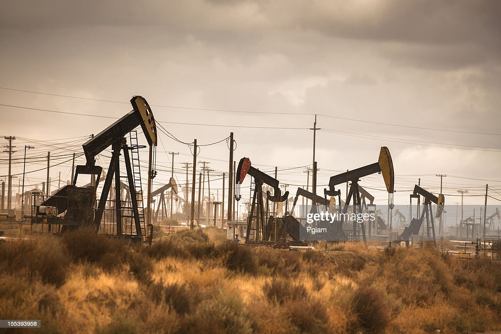 Oil industry well pumps : Stock Photo