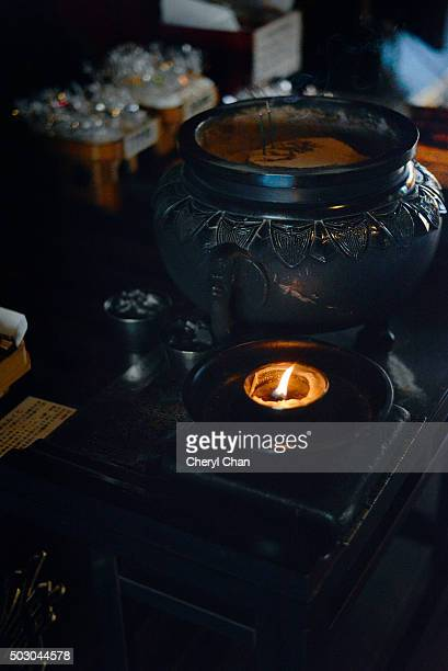 oil lamp at enoshima shrine - sandalwood stock pictures, royalty-free photos & images