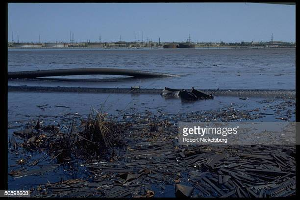 Oil leakage-fouled water, polluting spillage fr. Dated Caspian Sea oil industry which Azeris are redeveloping w. For. Oil co. Partners.