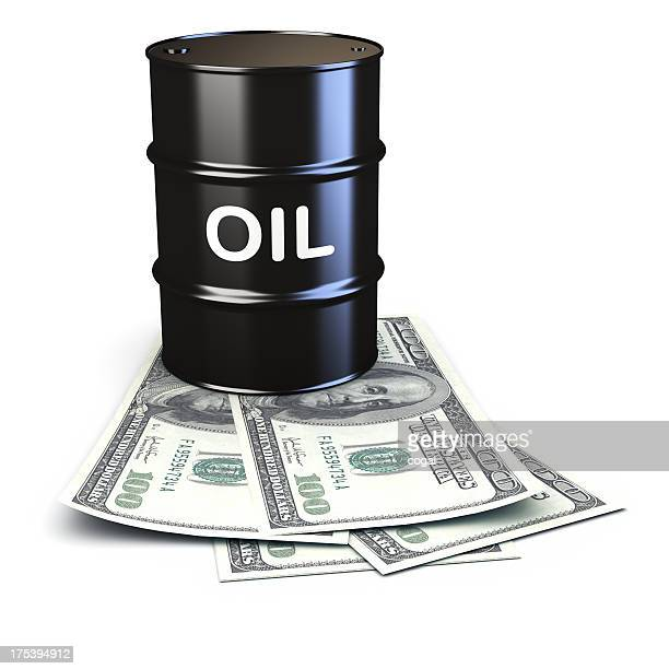Oil market concept with a barrel and dollar bills