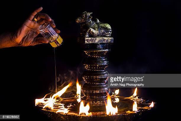 Oil offering for Nandi