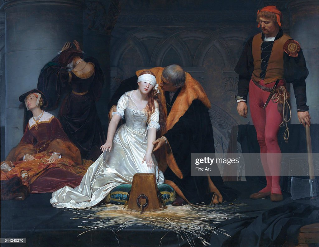 The Execution of Lady Jane Grey in the Tower of London in the Year 1554 by Paul Delaroche : News Photo