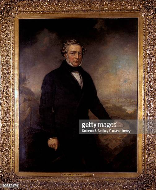 Oil on canvas painting of Robert Stephenson English engineer and the son of George Stephenson whom he assisted with the survey of the Stockton...