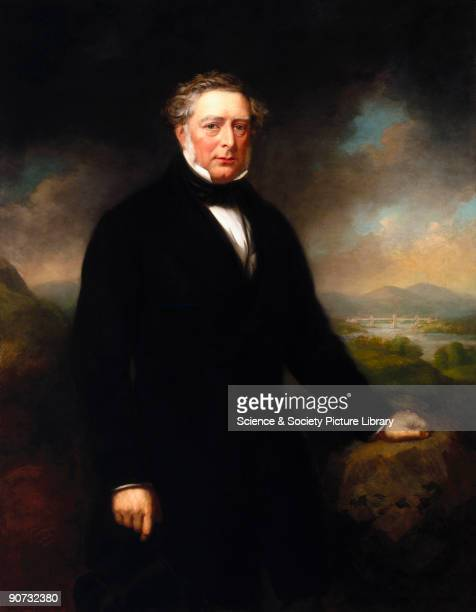 Oil on canvas portrait by John Lucas of Robert Stephenson English engineer and the son of George Stephenson whom he assisted with the survey of the...