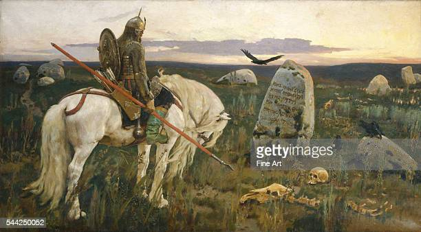 1882 oil on canvas State Russian Museum St Petersburg Russia Illustrates a common Russian folk tale of a hero choosing between two bad possibilities
