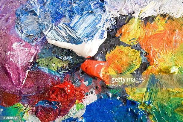 Oil paint palette very colorful