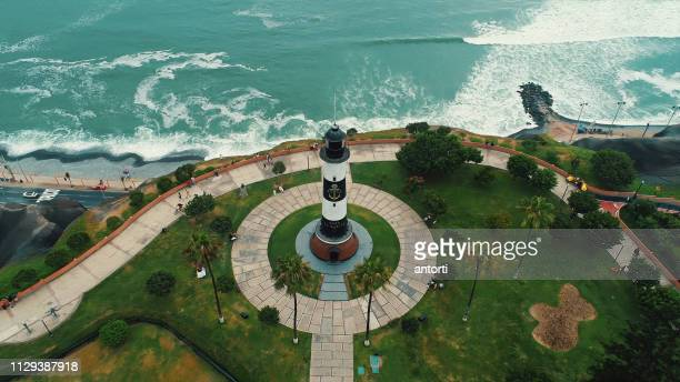 Oil paint panoramic aerial view of Miraflores district coastline in Lima, Peru.