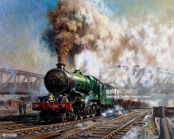 Oil painting by Alan Fearnley executed 1977 showing a steam express hauled by the King class 460 locomotive King George V in the 1950s The King...