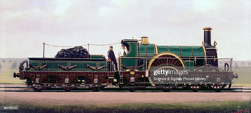 Oil painting by F Moore of the Great Western Railway (GWR) broad gauge locomotive 'Sebastopol', a locomotive of the 'Iron Duke' class designed by Sir Daniel Gooch (1816-1889) and built at the GWR's Swindon Works. Until 1864 many of the GWR's locomotives were designed by Gooch, who built a total of 340 engines for the railway at Swindon. A total of 29 locomotives of the Iron Duke class were built between 1847 and 1855. They were capable of speeds approaching 80 mph.