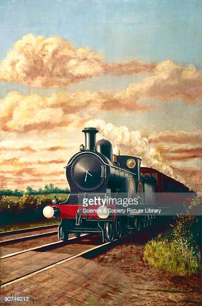 Oil painting by J Longden showing a Lancashire and Yorkshire Railway 440 locomotive hauling a train