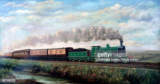 Oil painting by J Longden The engine is hauling the Southampton Boat Special