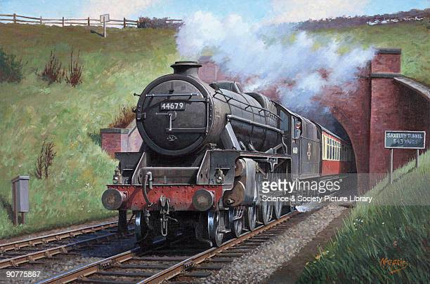 Oil painting by Mike Jeffries of 2004 depicting �Black Five� British Railways No 44679 leaving Saxelby Tunnel Melton Mowbray with an express for...