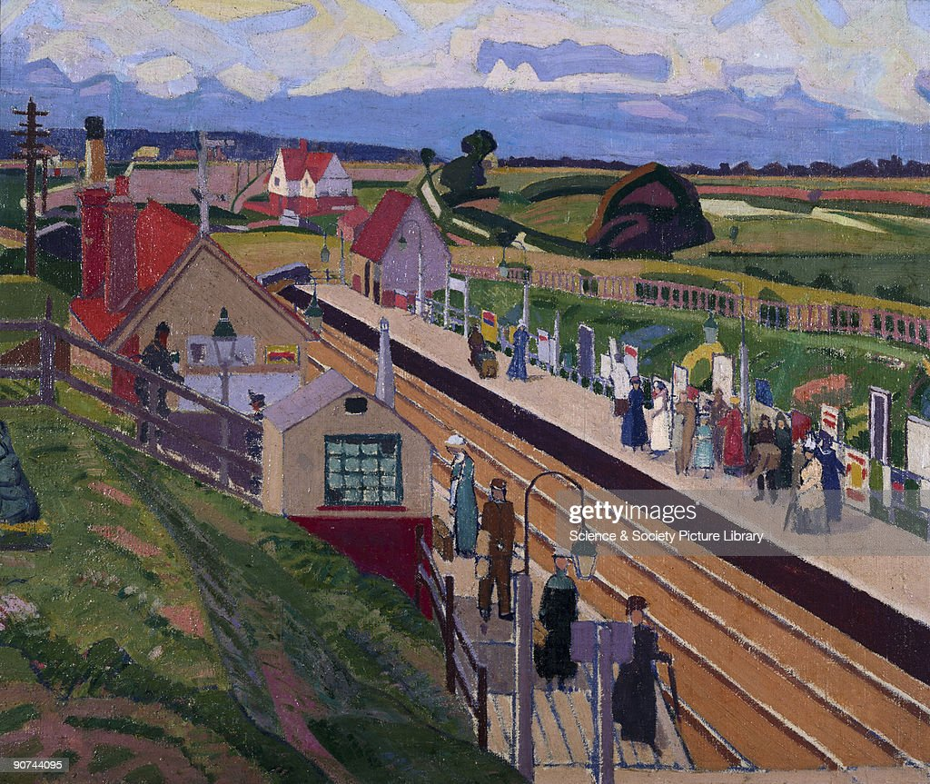 Oil painting by Spencer Frederick Gore (1878-1914). Gore went to Letchworth in August and November 1912, staying in the artist Harold Gilman�s house. Letchworth Garden City was a planned new town and one of the major social developments of the early 20th century. The station opened in 1905 and by 1911the town had a population of over 6000. This is one of a series of paintings that Gore painted of the new town, all displaying intense bright colours and characteristic stylised forms. Gore trained at the Slade and was a founder member of the so-called Camden Town Group who had been heavily influenced by the Post-Impressionist exhibition held in London in 1910. Gore, who was President of the group, had also painted in France in 1904-1905 and met Sickert and Pisarro.