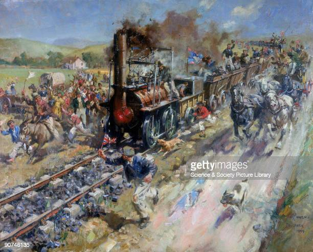 Oil painting by Terence Tenison Cuneo 1949 The Stockton Darlington Railway was the world's first public railway It was built under the guidance of...
