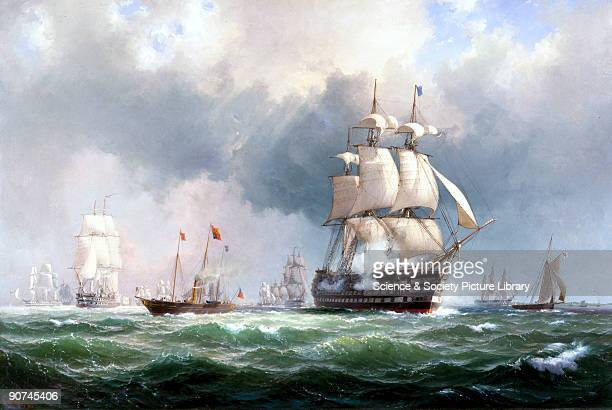 Oil painting by the Danish artist Wilhelm Melbye showing the British fleet leaving Spithead for the Baltic during the Crimean War The event was...
