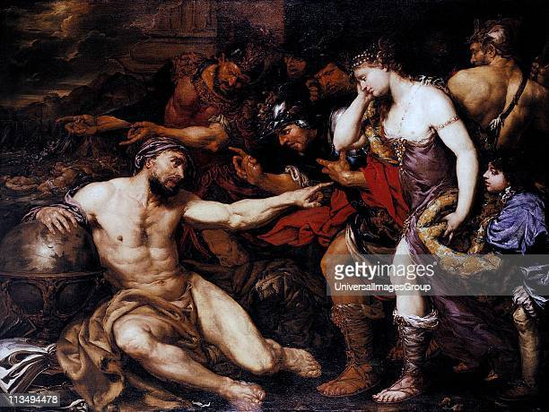 oil painting by the Italian Giovani Battista Langetti Archimedes with Allegorical Figures of War and Peace