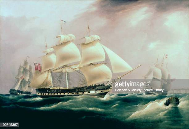 Oil painting by W J Huggins showing the �Herefordshire� off Margate Kent in 1813 As is common with pictures painted to the order of the owner the...