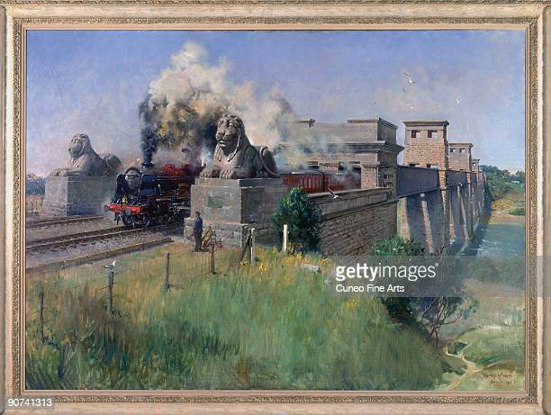 Oil painting from 1970 by Terence Cuneo showing a steam locomotive crossing the bridge The Britannia Tubular Bridge was designed by Robert Stephenson...