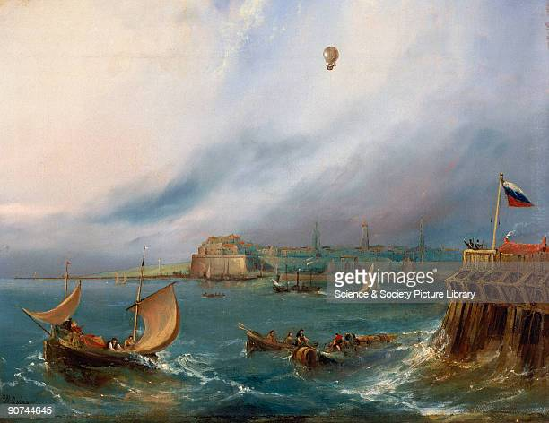 Oil painting made c 1840 by E W Cocks showing Blanchard�s balloon arriving at Calais Harbour France Below are fishing boats an anachronistic...