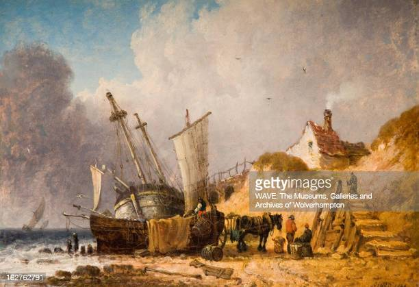 Oil painting of a coast scene with three boats on the shore A horse and three figures gather on the beach by a boat as another figure walks up sandy...