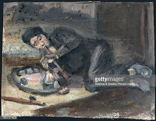 Oil painting of a man smoking an opium pipe, Europe Oil painting of a man smoking opium, from Ah Sing's opium den in Victoria Street, London. Wood...