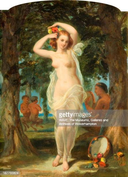 Oil painting of a Wood Nymph The Wood Nymph stands in the foreground of the painting adjusting the flowers in her auburn hair The Wood Nymph is...
