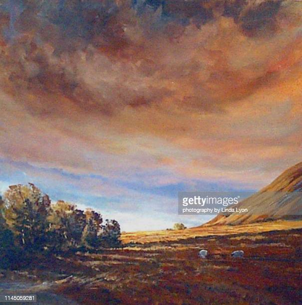 oil painting of last light across lanthwaite green - oil painting stock pictures, royalty-free photos & images