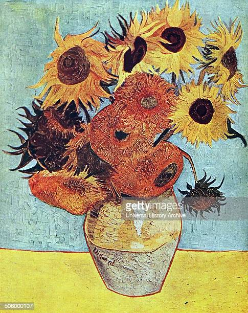 Oil painting of the famous Sunflowers By Vincent van Gough PostImpressionist painter of Dutch origin 1888