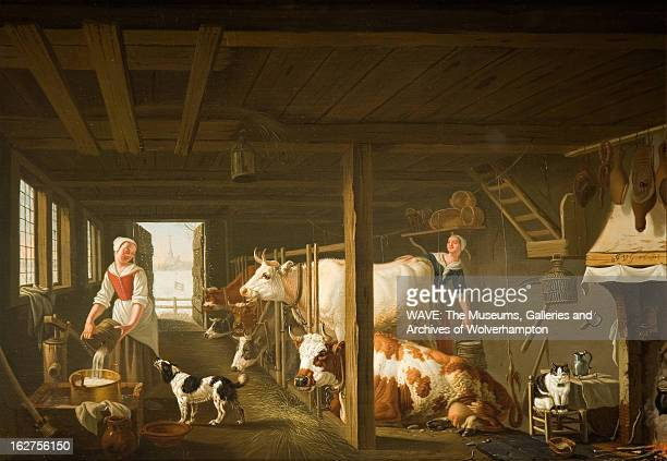 Oil painting of two women milking cows in a barn In the centre stands a white cow the figure of a woman peering out behind it On the left stands...