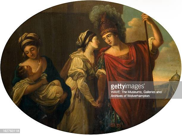 Oil painting showing a Hector saying farewell to his wife Andromache They are holding hands and looking into each others eyes A woman holds their...