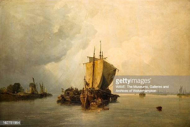Oil painting showing a large calm steely grey river, There are many ships with sails on the water, The sky is grey and cloudy, River Scheldt,...