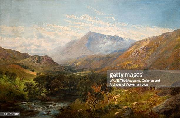 Oil painting showing a mountain landscape with mountain river Sheep are grazing on a lower slope The sky is blue with wispy white cloud Borrowdale...
