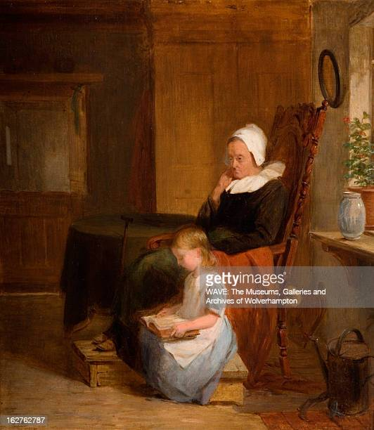 Oil painting showing a simple interior in which there is an elderly lady sat in a large carved wooden chair By her side is a young girl sat on a low...