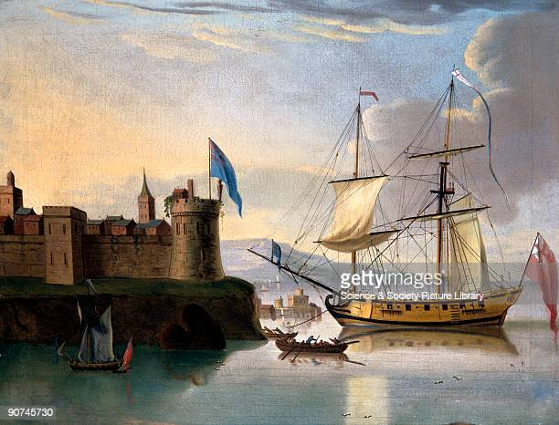 Oil painting showing a warship at anchor in the harbour of a fortified coastal town A snow rig is similar to that found on a brig featuring two masts...