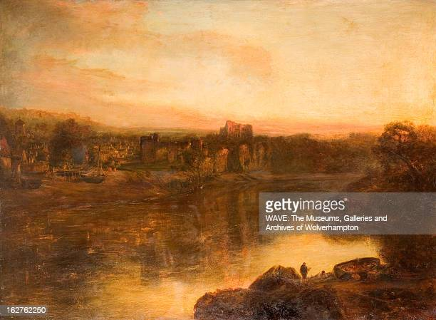 Oil painting showing a wide river with Chepstow Castle on the far bank There is a rowing boat and a lone figure on the bank The sky is white and...