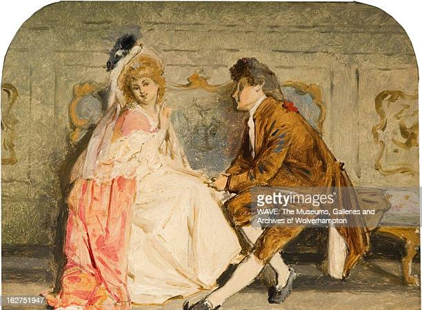 Oil painting showing a woman in an extravagant cream and peach gown sat on a bench Beside her is a gentleman in a brown suit He is holding her hand...