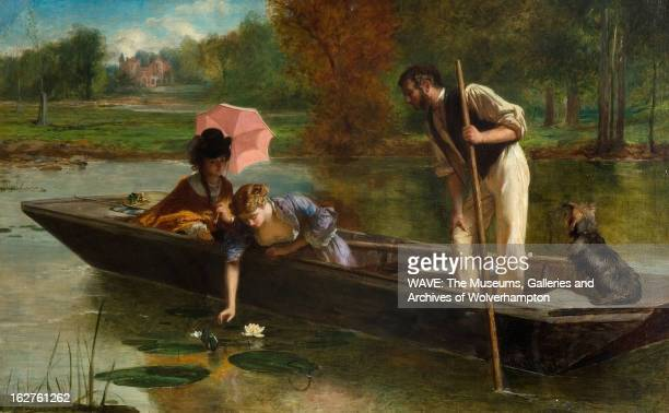Oil painting showing a wooden rowing boat on a pleasant river which a man is standing holding an oar There are two well dressed women seated in the...
