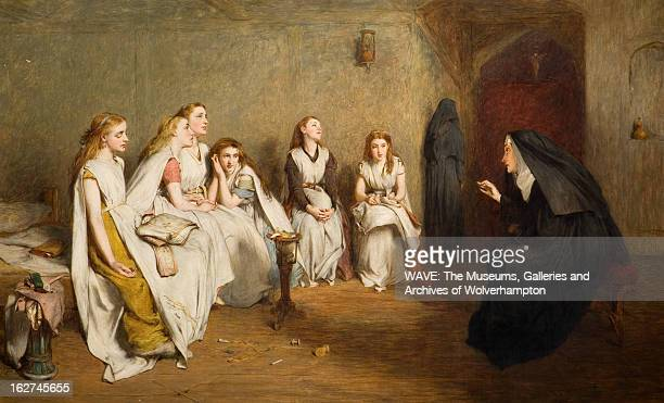 Oil painting showing an austere room A nun is sitting down talking to six seated schoolgirls The Story of a Life 18401910 Oil Painting by William...