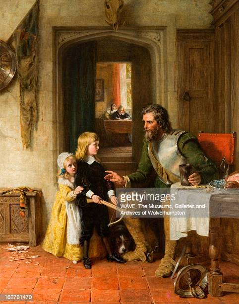Oil painting showing an officer of King Charles I's army sending a message with his young son who is standing with a bow A young girl looks on...