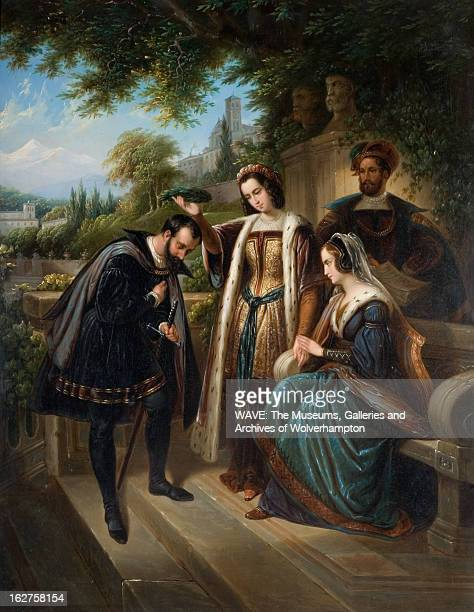 Oil painting showing Christopher Columbus bowing to Queen Isabella of Spain in a lush garden A lady is placing a wreath of laurel leaves on Columbus'...