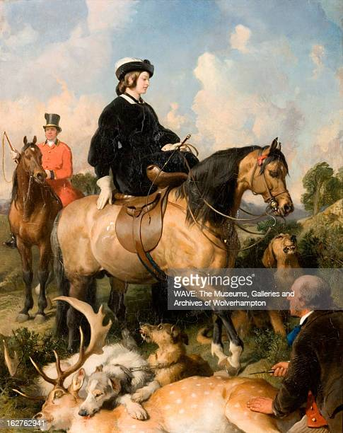 Oil painting showing Queen Victoria on horseback following a deer hunt The gamekeeper sits at her feet by the dead deer showing the Queen his knife...