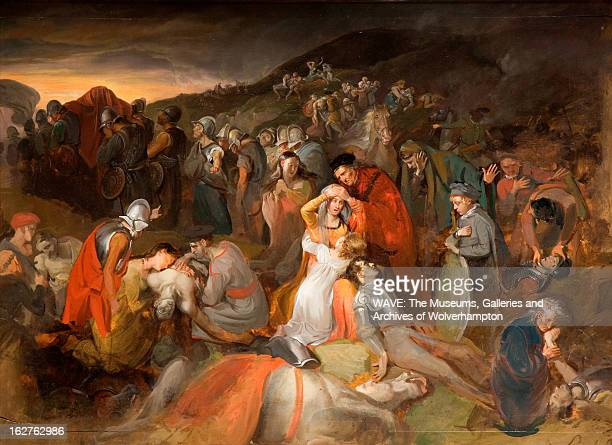 Oil painting showing the aftermath of a battle Men lie dead and wounded Other figures including women can be seen mourning the dead Scotland Britain...