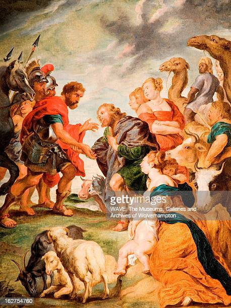 Oil painting showing the biblical scene of Jacob making peace with his twin brother Esau A crowd of people watches There are also sheep cattle horses...