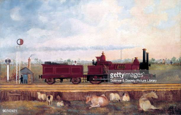 Oil painting showing the locomotive 'Dane' with its tender passing a signalman's hut on the London South Western Railway The LSWR opened its line...