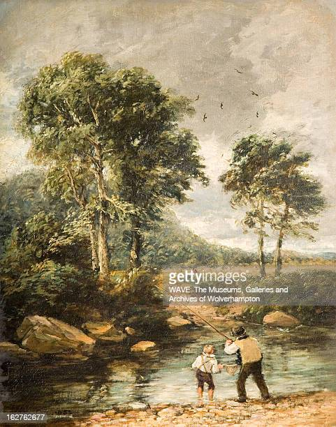 Oil painting showing the River Lledr in its early stages, A man and boy are standing on the pebbly shore fishing, The sky is cloudy and grey, River...