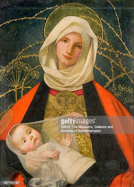 Oil painting showing the Virgin Mary with her child in her arms She is wearing a white headpiece a rich orange cloak and has a gold halo Decorating...